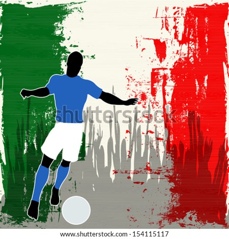 Football Italy, Vector Soccer player over a grunged Italian Flag and cheering crowd - stock vector