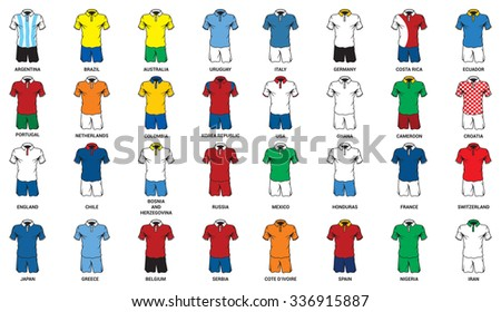 Football jersey set. National soccer teams - stock vector