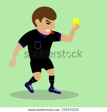 football judge hand with yellow card - stock vector