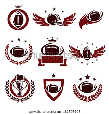 Football labels and icons set. Vector  - stock vector
