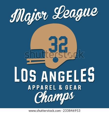 Football Los Angeles typography, t-shirt graphics, vectors - stock vector
