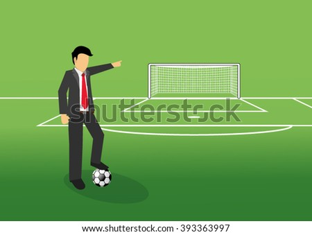 football manager pointing his finger at goal on the field - stock vector