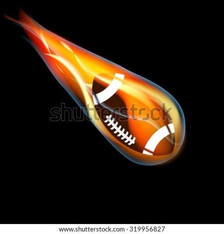 Football on fire on black background - stock vector
