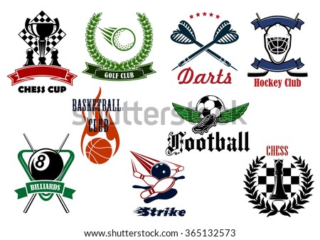 Football or soccer, golf, ice hockey, basketball, bowling, chess, billiards and darts sport emblems with heraldic elements and sporting items - stock vector