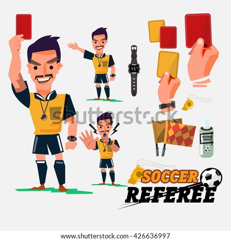 Football or Soccer Referee with card and graphic elements. character design - vector illustration - stock vector