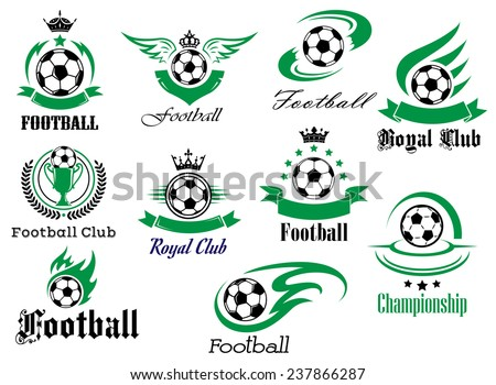 Football or soccer sports heraldic emblems and symbols for sport club, championship design with balls, ribbon banners, wings, trophy, crowns and stars - stock vector