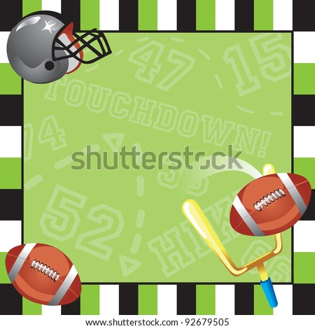 Football Party Invitation Card - stock vector