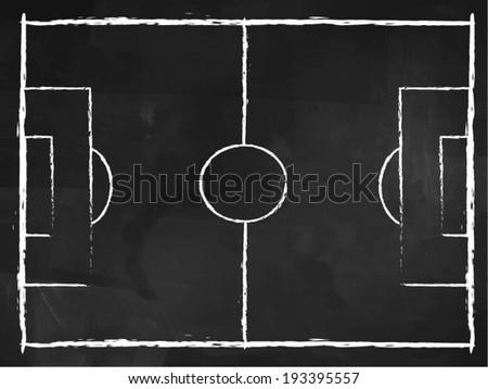 Football pitch drawing on blackboard , vector design. - stock vector