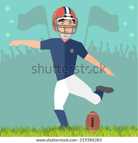 football player in the stadium - flat design vector - stock vector