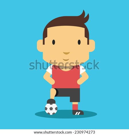 Football Player Mascot. Creative Vector Flat Illustration Concept. Isolated on Blue Background. - stock vector