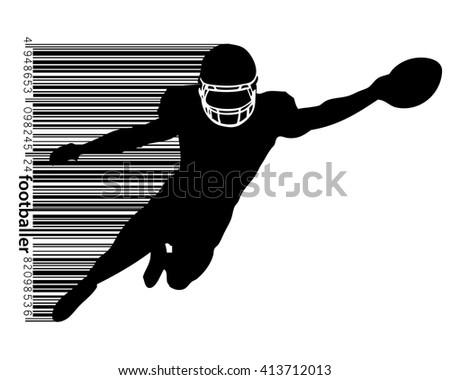 football player silhouette. Background and text on a separate layer, color can be changed in one click - stock vector