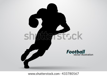 football player silhouette. Background and text on a separate layer, color can be changed in one click. Rugby. American football - stock vector