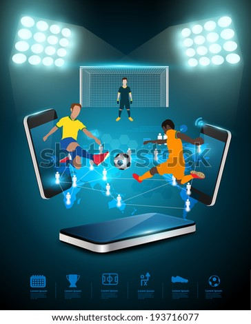 Football player striking the ball at the stadium, Technology communication, Creative virtual networking information process diagram connection on mobile phones, Vector illustration modern template - stock vector