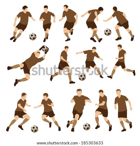 Football players silhouettes. Vector illustration - stock vector