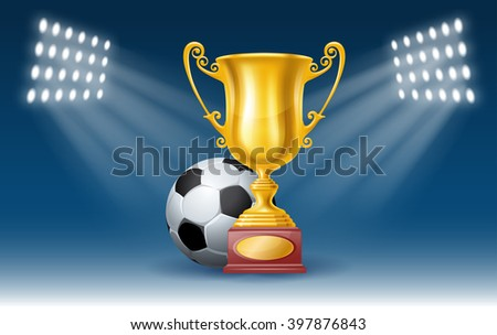 Football Poster with Soccer Ball and Golden Trophy Cup on the Stadium. Football Concept. Realistic Vector Illustration. - stock vector