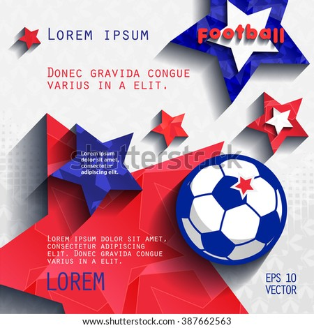 football soccer background with stars, grass and ball, in the colors of the national flag of France. cover vector eps10 - stock vector