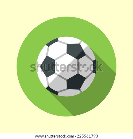 Football soccer ball icon. Long shadow flat design. Vector illustration. - stock vector