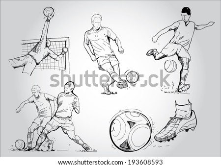 FOOTBALL - Soccer. Collection of an hand drawn illustrations - stock vector