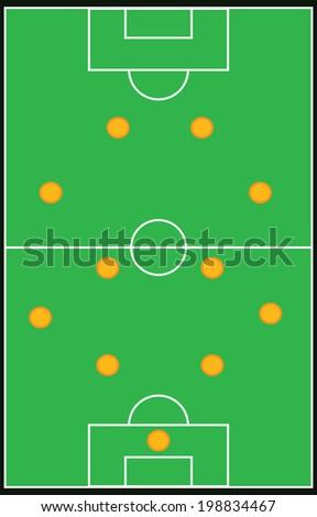 Football, soccer formation vector set 4-4-2 eps10 - stock vector