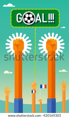 Football (soccer). Goal. Hands of the players and the fans throw up triumphantly.  In the flat style. Colors form French national team. eps8 - stock vector
