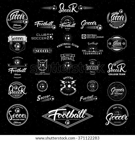 Football, Soccer Hand lettering badges labels can be used for design, presentations, brochures, flyers, sports equipment, corporate identity, sales - stock vector