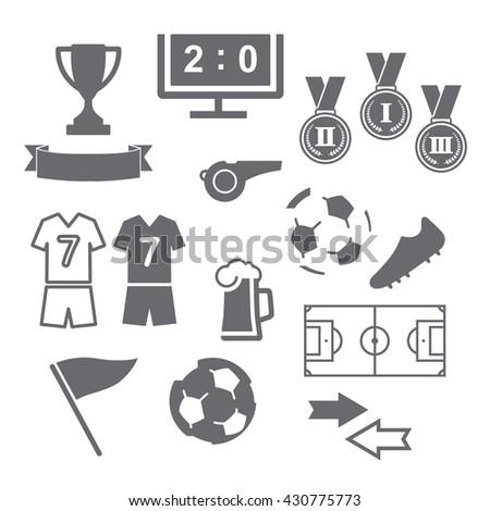 Football soccer icons set on white background. Vector illustration. - stock vector