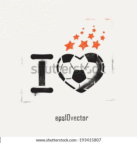 Football (soccer) love vector stencil. template graffiti on a wall. spray art - stock vector