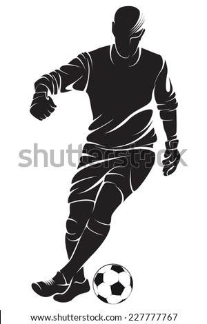 Football (soccer) player with ball, isolated. Vector silhouette - stock vector