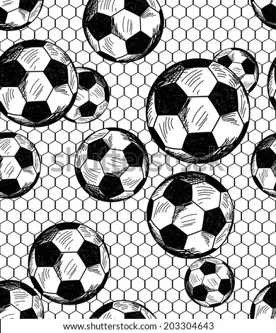Football (soccer) theme seamless pattern in sketch style. Vector illustration.  - stock vector