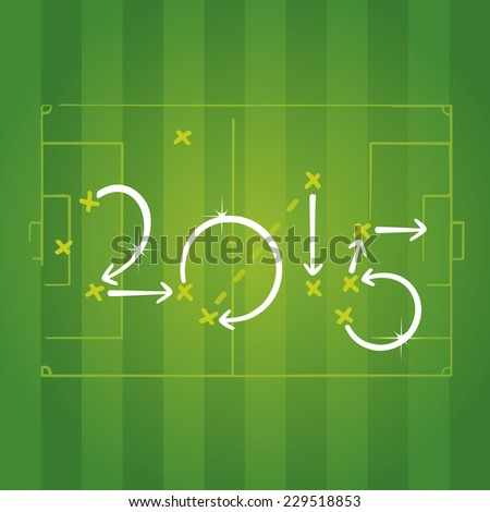 Football strategies for goal 2015 - stock vector