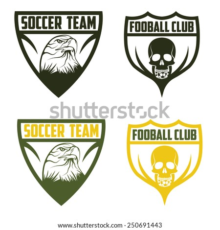 football team crests set with eagle and skull - stock vector