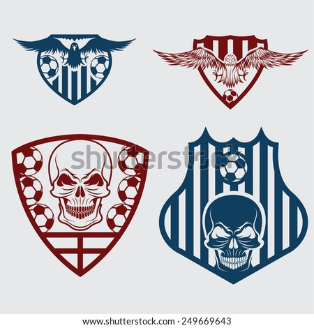 football team crests set with eagles and skulls - stock vector