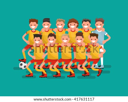 Football team. Eleven players together. Vector illustration - stock vector