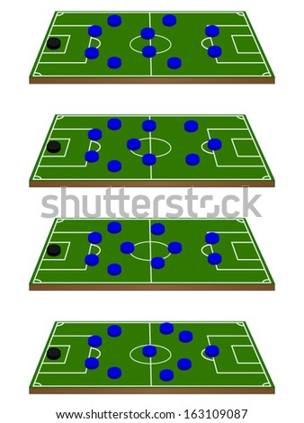 Football Team Formations Circles 3D Perspective - stock vector