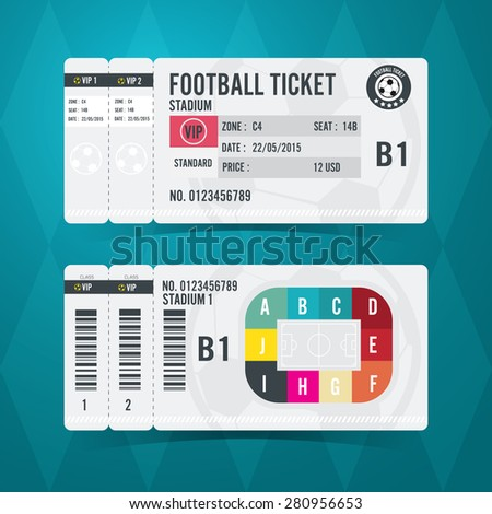 Football ticket card modern design. Vector illustration - stock vector