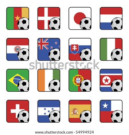 football tournament flag icons isolated on white - stock vector