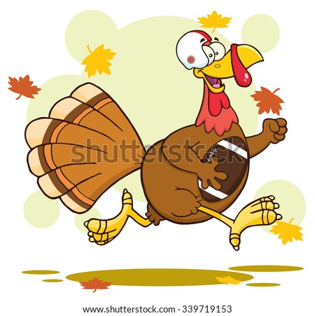 Football Turkey Bird Cartoon Character Running In Thanksgiving Super Bowl. Vector Illustration With Background - stock vector