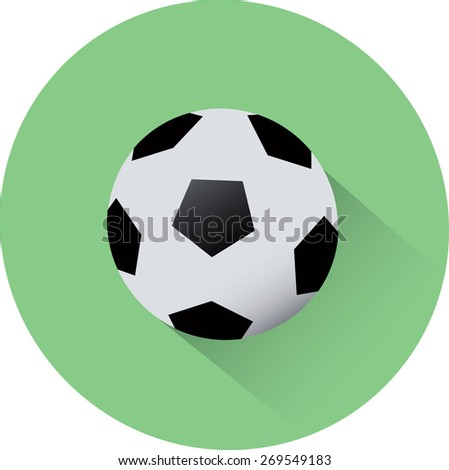 Football with long shadows. Flat style of vector illustration - stock vector