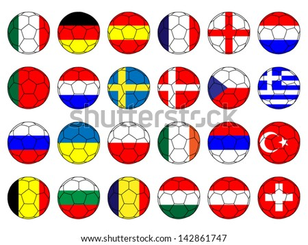 Footballs with Flags of Europe - stock vector
