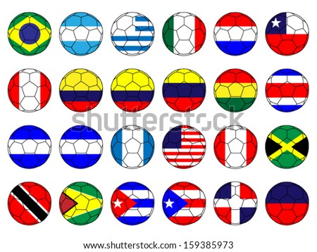 Footballs with Flags of the Americas - stock vector
