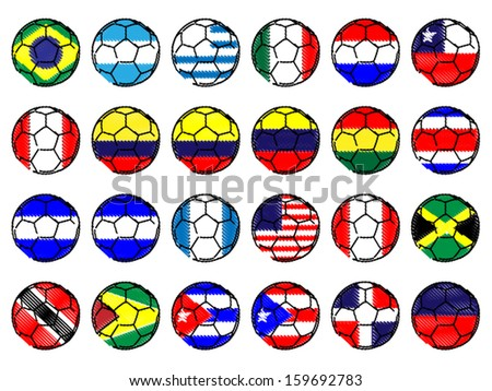 Footballs with Flags of the Americas Pencil Drawing Style - stock vector
