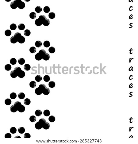 footprints of the animal seamless background with text, vector illustration - stock vector