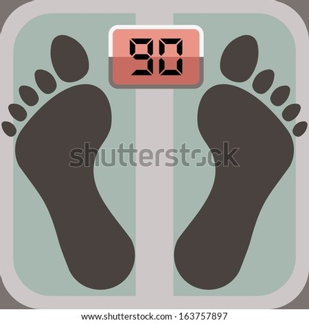 footprints on bathroom scale, scale display shows ninety - stock vector