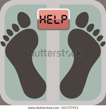footprints on bathroom scale, scale display shows word help - stock vector