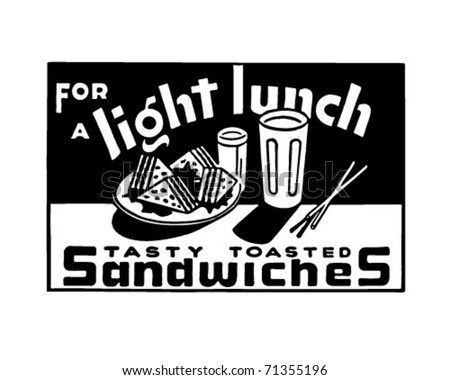 For A Light Lunch 2 - Retro Ad Art Banner - stock vector