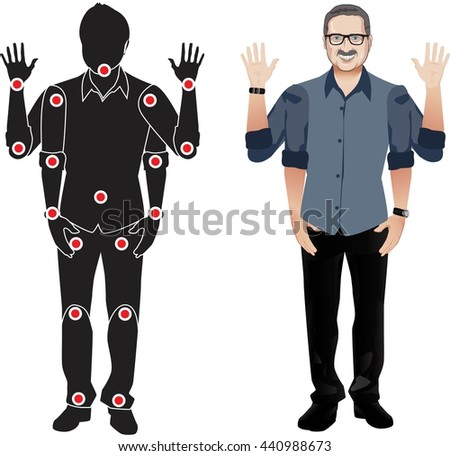 FOR ANIMATION. man character in blue shirt, doll with separate joints. Gestures for animated work movement. Parts of body template for work and animation. Body elements. Set. glasses and mustache. - stock vector