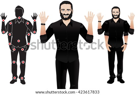 FOR ANIMATION. man character in formal suit and tie, doll with separate joints. Gestures for animated work movement. Parts of body template for design work and animation. Body elements. Set - stock vector