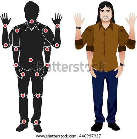 FOR ANIMATION. man character in mustard shirt, doll with separate joints. Gestures for animated work movement. Parts of body template for design work and animation. Body elements. Set. long hair - stock vector