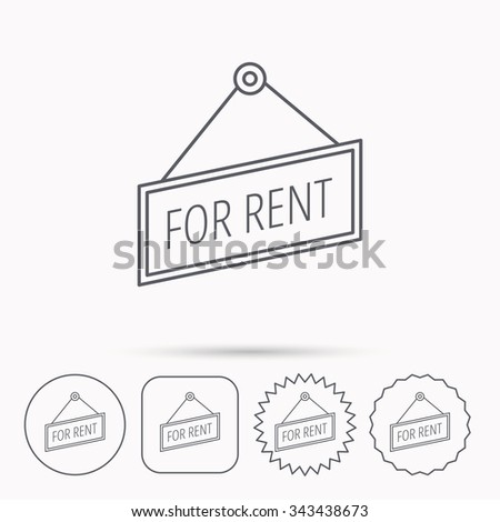 For rent icon. Advertising banner tag sign. Linear circle, square and star buttons with icons. - stock vector