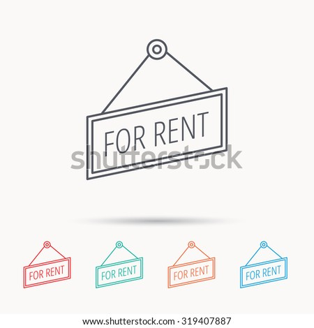 For rent icon. Advertising banner tag sign. Linear icons on white background. Vector - stock vector